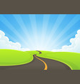 country road snaking with blue sky and sunbeams vector image