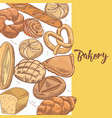 fresh bread hand drawn bakery design vector image