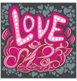 Love hearts hand lettering and doodles elements vector image