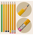 Set of monochrome pencils with erasers vector image