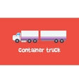 Style container truck on red backgrounds vector image