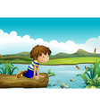 A young boy watching the fishes vector image