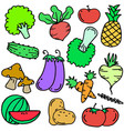 doodle of vegetable object set various vector image