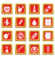 gmo icons set red vector image
