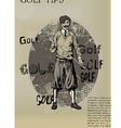 golfing man old newspaper vector image