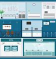 Bank building exterior and interior counter desk vector image