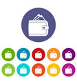 purse with money set icons vector image