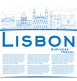 Outline Lisbon Skyline with Blue Buildings vector image