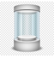 Empty glass shop cylinder showcase display box on vector image