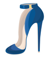 Blue high heeled shoe with buckle vector image