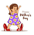 happy girl trying to wear her moms high heels vector image