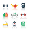 fitness gym flat icons over white vector image