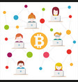 bitcoin money translations with people vector image