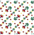 Red flowers and berries seamless background vector image