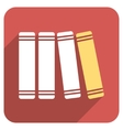 Library Books Flat Rounded Square Icon with Long vector image