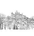 old city skyline medieval castle view landscape vector image