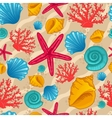 Seamless pattern with seashell vector image