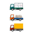 set of small cargo trucks vector image