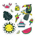 summer time set in ethnic tropical style colorful vector image