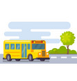 yellow school bus in street vector image