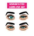 pop art cartoon comic sexy sly woman eyes vector image vector image