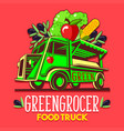 food truck fruit seller greengrocer stand fast vector image