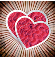Two paper heartes postcard Valentines day vector image