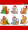 Cat characters on christmas cartoon set vector image