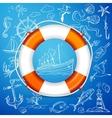 Hand-drawn elements of marine theme with orange vector image