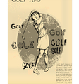 Abstract background golfing woman old newspaper vector image