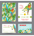 Invitation or Greeting Card Set - Tropical Birds vector image