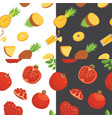 fresh pomegranates and pineaples hand drawn vector image