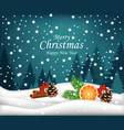 merry christmas card winter snowy background with vector image