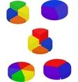 Set of color segmented diagrams vector image