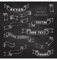 Set of retro ribbons on chalkboard background vector image