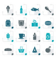 stylized shop food and drink icons vector image