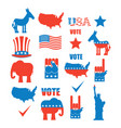 american elections icon set republican elephant vector image