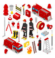 Isometric firefighter fireman with tank truck vector image