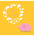 Its a girl Baby shower card with elephant and vector image