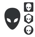 Alien icon set monochrome vector image