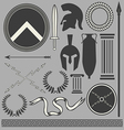 Old greek roman spartan set icons vector image