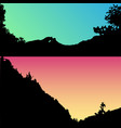 set of hills and mountain landscape vector image