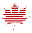 Striped Maple Leaf Silhouette vector image