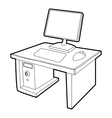 Desktop with computer icon isometric 3d style vector image