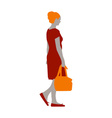 a girl in a red dress and orange shoes with a bag vector image