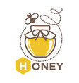 organic sweet honey in jug with bee logo design vector image
