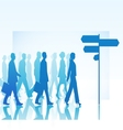 People are walking to direction sign vector image