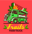 food truck fruit stand fast delivery service logo vector image