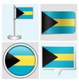 Bahamas flag - sticker button label flagstaff vector image vector image