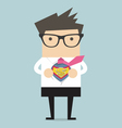 Businessman opening shirt in superhero style vector image